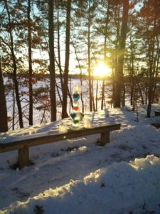 Snow labyrinth hearts and lake 2016 Winter Witchcamp